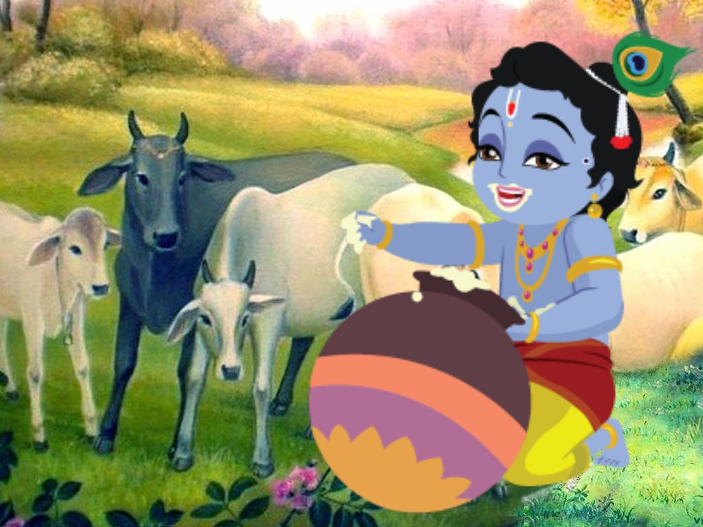 Cute Little Krishna God Image with Cows