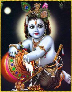 Little Shri Krishna Eating His Favorite Food Butter
