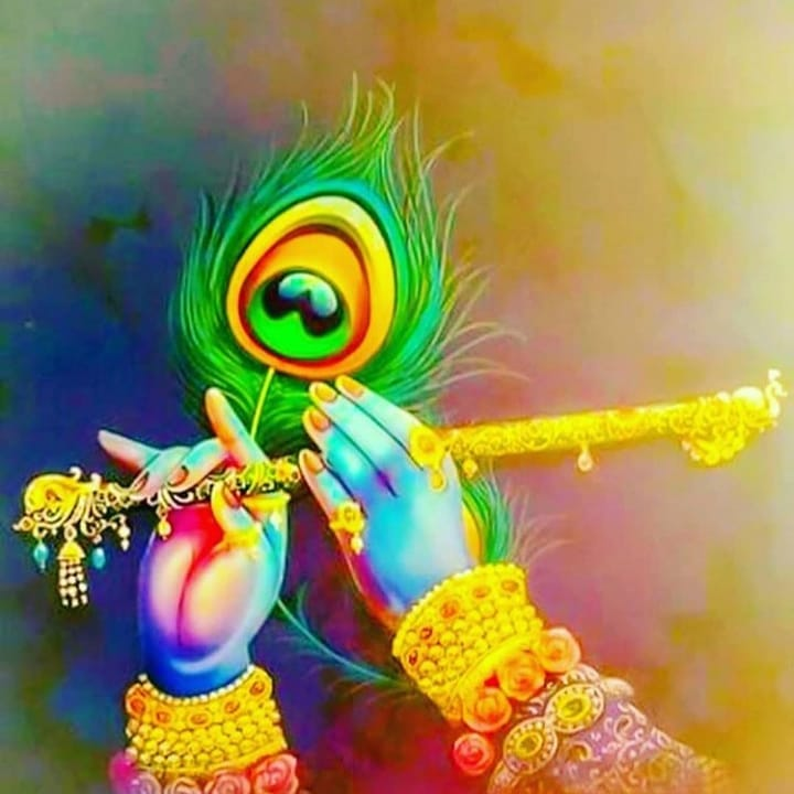 Lord Krishna Peocock Feather Painting HD
