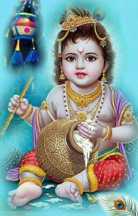 Lord Shree Krishna Baby Cute Krishna Painting HD Wallpaper Photo