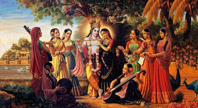 Radha Krishna and Gopies Wallpaper