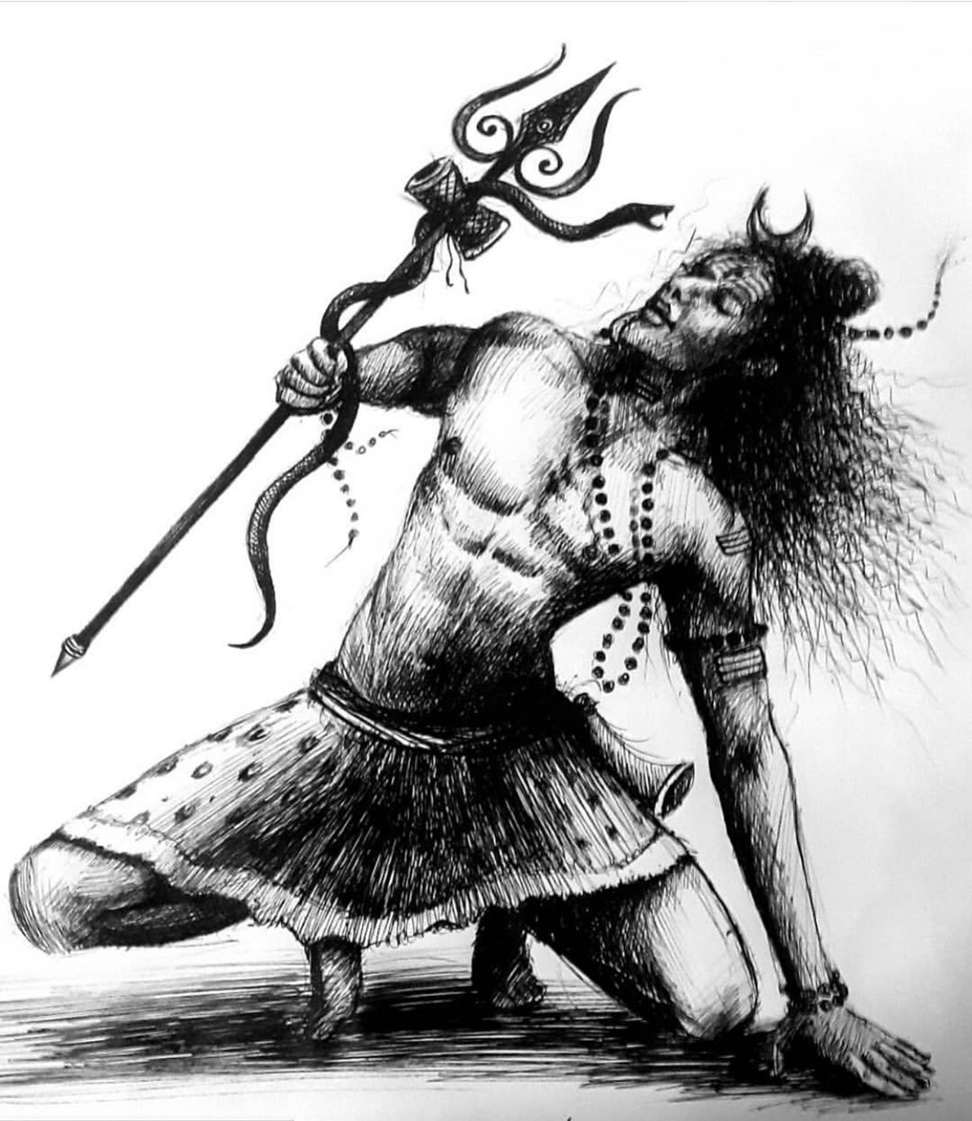 Angry God Shiva Images Sketch