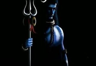 Lord Shiva Black Background Image with Trident