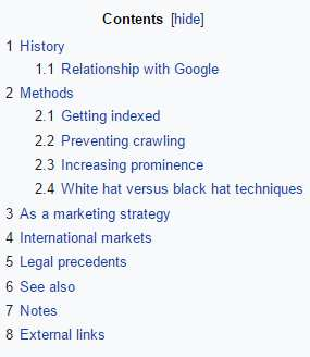 Wikipedia table of content