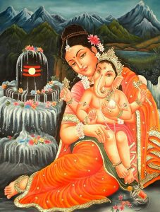 Baal Ganesha Photo with Parwati