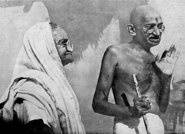 Images of Mahatma Gandhi and Kasturaba Bai