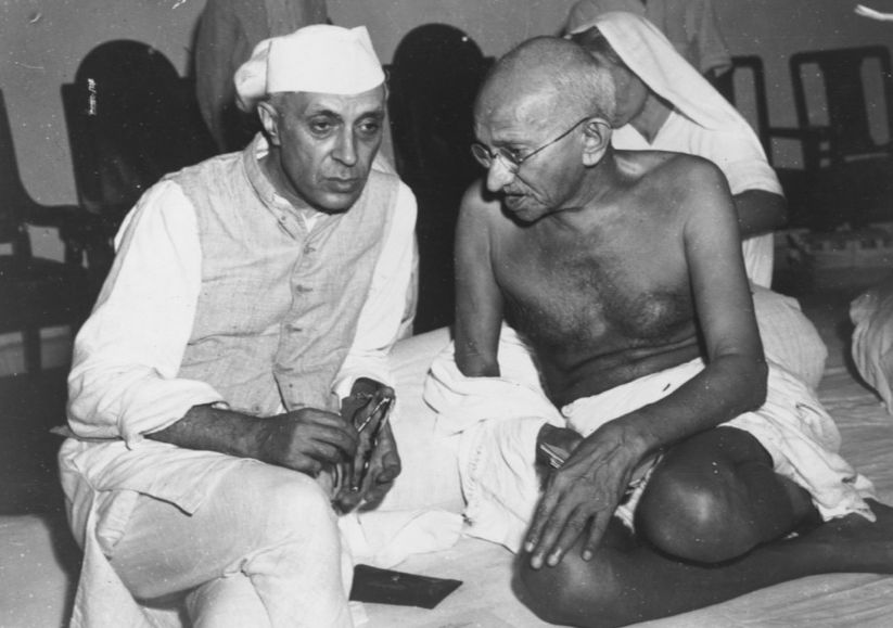 Images of Mahatma Gandhi with Chaha Nehru