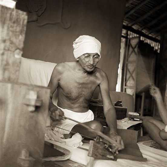 Mahatma Gandhi Charkha Chalate Hue