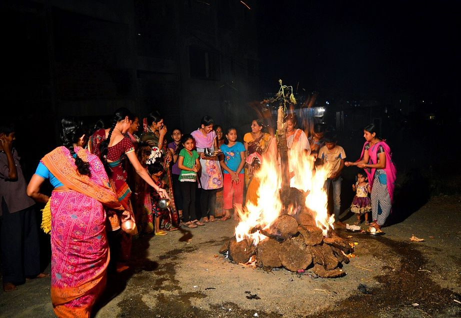 Photos of Holika Dahan in India