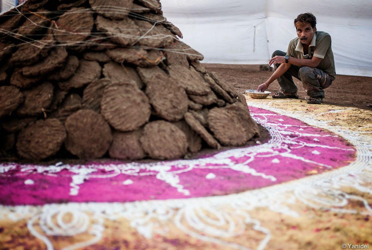 Prepration of Holika Dahan Photos in India