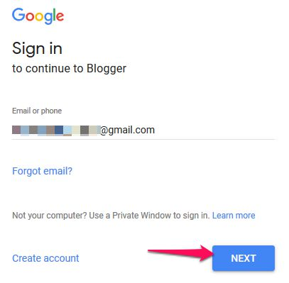 Enter Gmail Id and Click Next