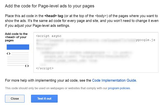 Page Level Ad Code