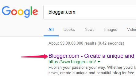 Search Blogger in Google