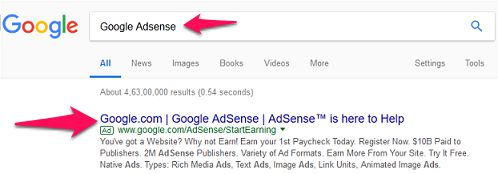 Search Google Adsense in Google