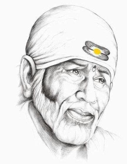 Shridi Wale Sai Baba Images Pencil Sketch