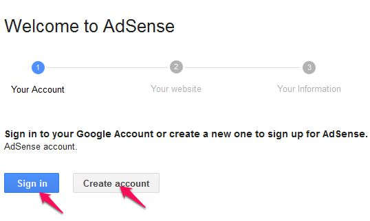 Sign in to Adsense