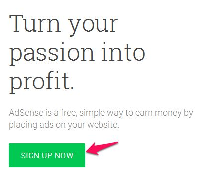 Signup to Adsense