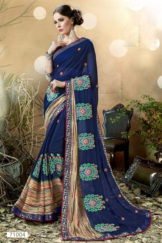Blue Color Women Saree Image Design