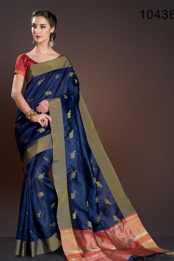 Blue Designer Saree Image Color
