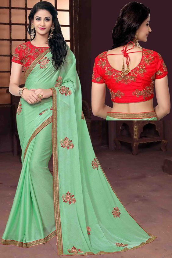 Green Color Saree Design Image