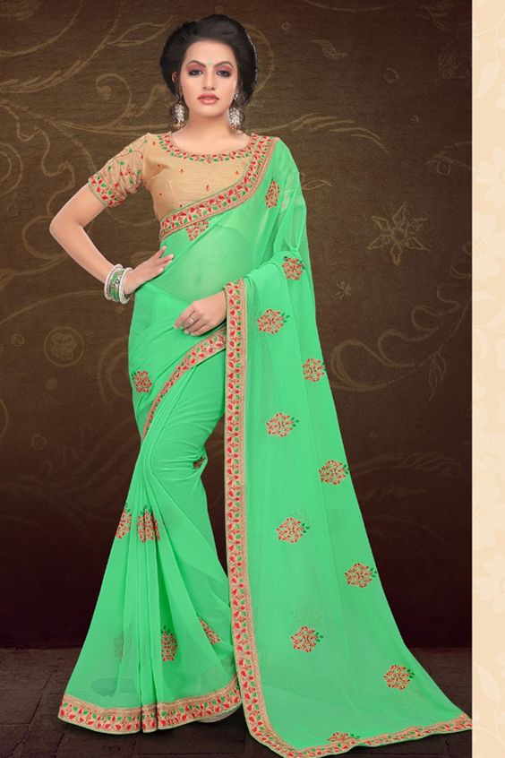 Green Saree Design Image