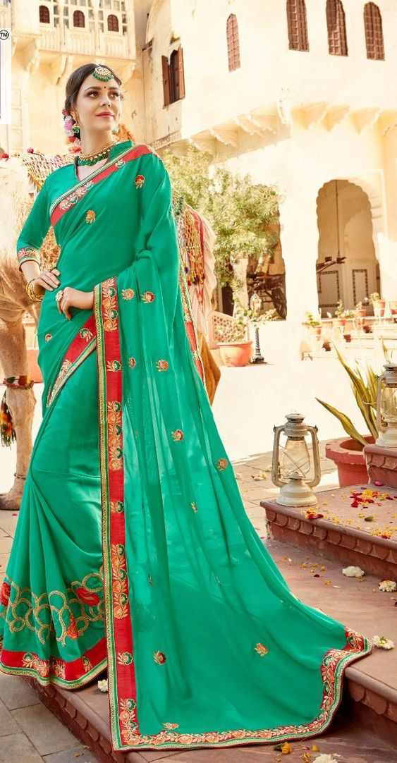 Images of Green Saree with Design