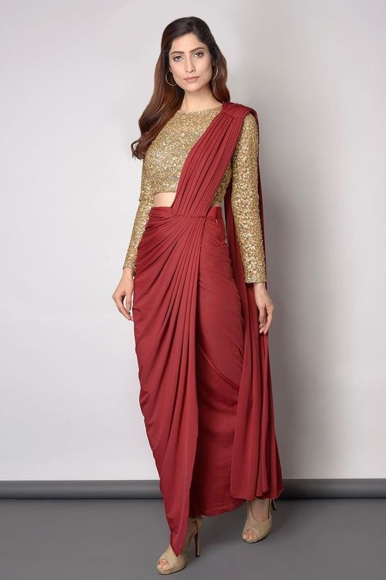 Maroon Golden Saree Image Design