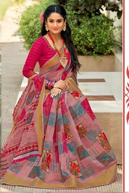 Red Pink Color Saree Indian Women Image