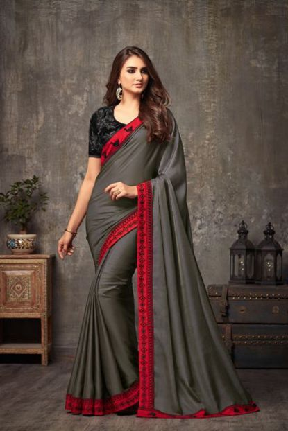 Saree Gray Color Image Beautiful