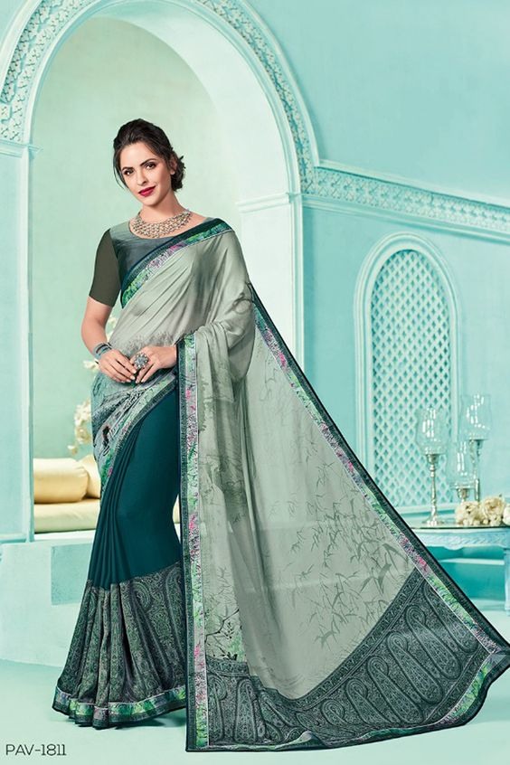 Saree Green Color Design Image HD