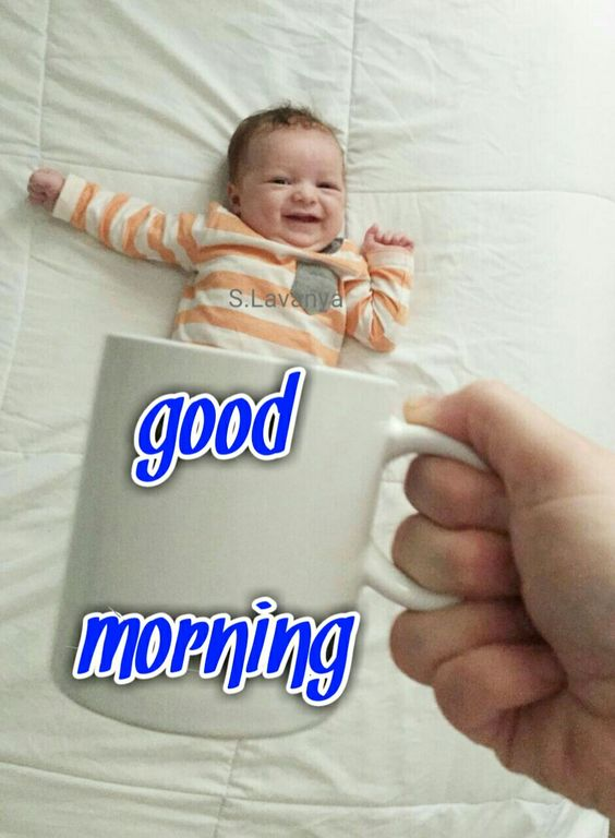 Good Morning Very Funny Cute Kid Image Photo