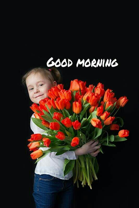 Pretty Kids Baby Good Morning Flower Image