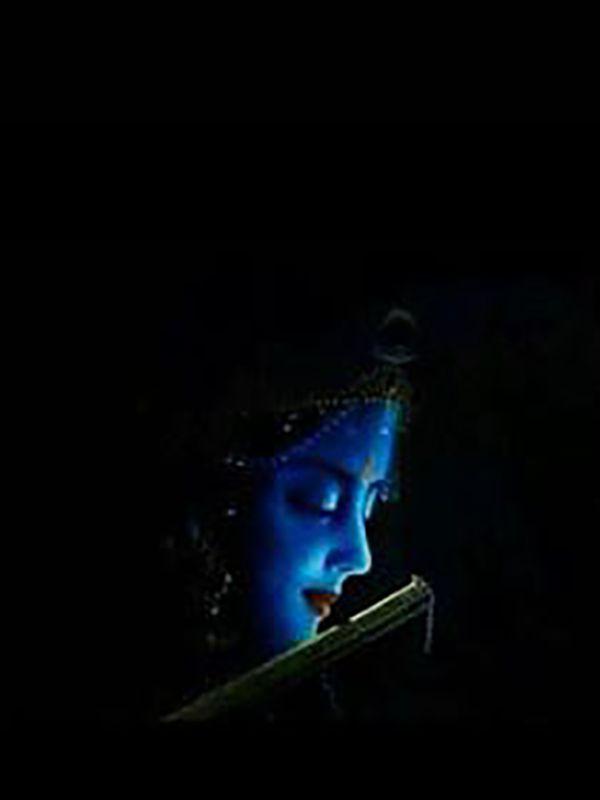 Krishna Black HD Photo with Flute
