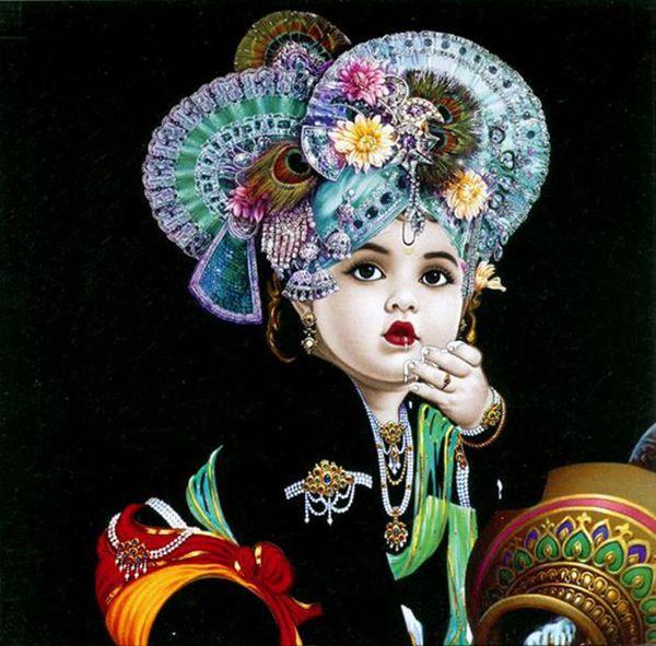 Little Krishna HD Black Wallpaper