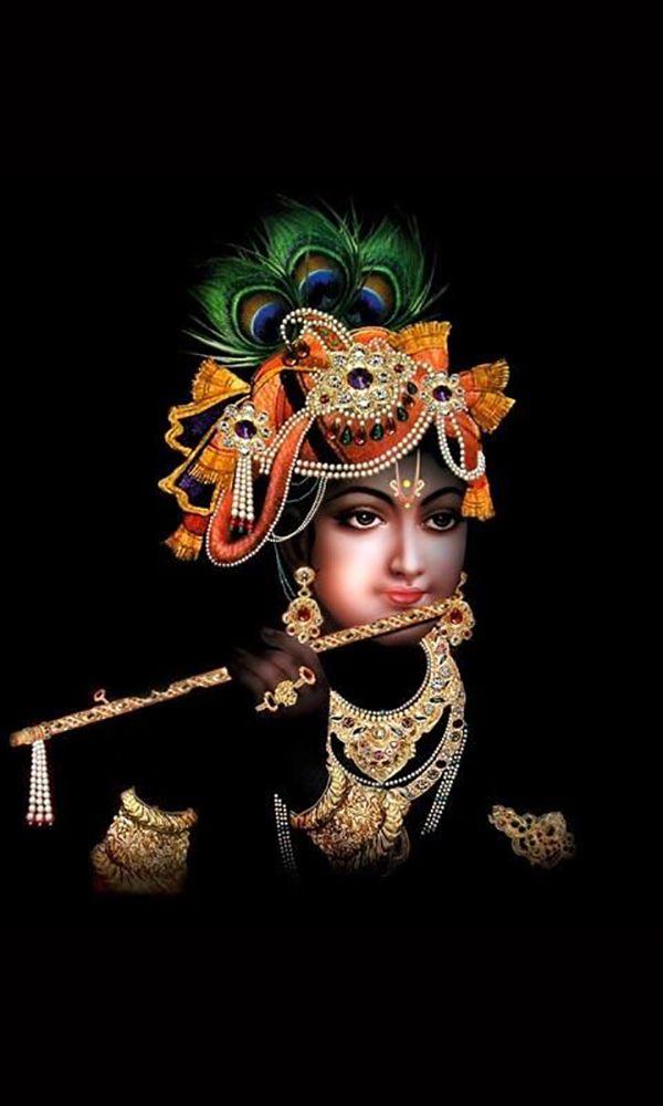 Lord Krishna HD Black Wallpaper for Mobile