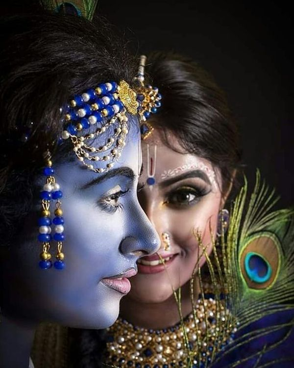 Radha Krishna God Black Photo HD