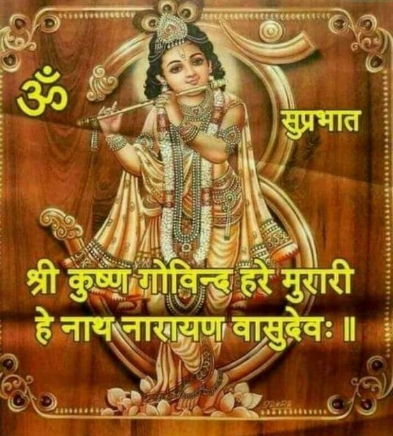 Krishna Govinda Good Morning Quotes Image in Hindi