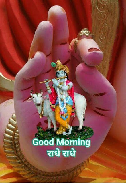 Radhe Krishna Good Morning Hindi Image