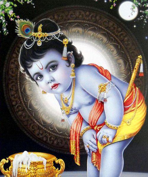 Cute Krishna Looking Beautiful in His Blue Body