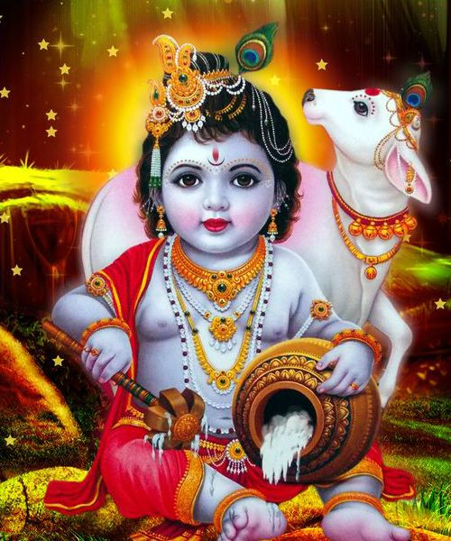 Krishna Ji Playing with Cow and Eating Butter