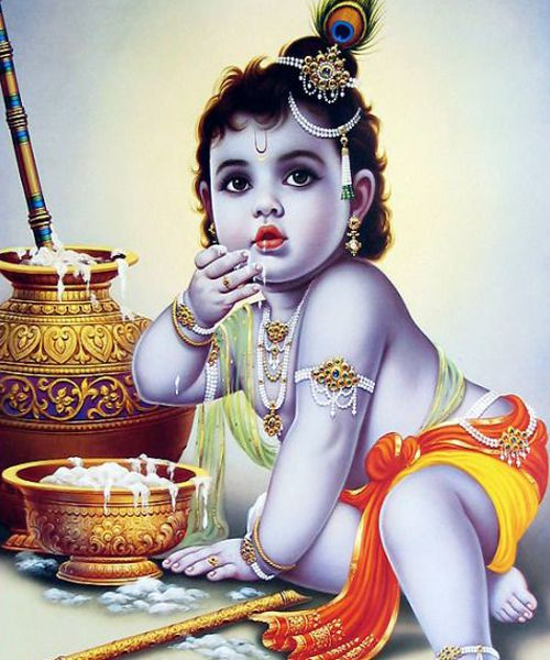 Krishna Little Baby Eating Butter and Playing