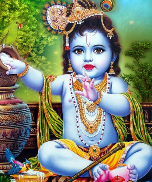Little Kanha Eating Butter and Fruits