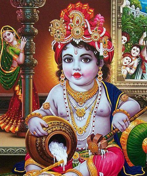 Little Makhanchor Shri Krishna Theft Butter and Eating