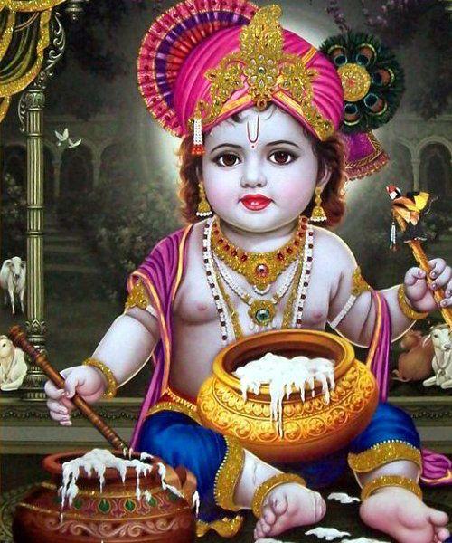 Small Cute Krishna Eating Butter Janmashtami