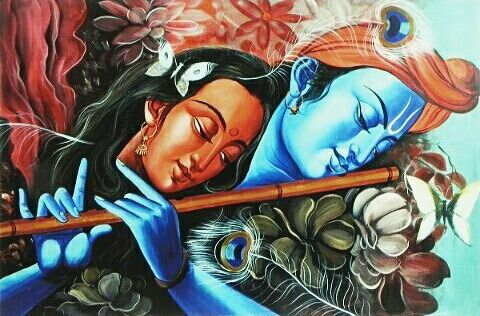 HD Love Wallpaper of Radha Krishna with Divine Flute Krishna used to Enchant Radha