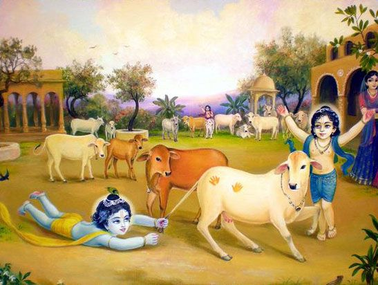 Kanha Playing with Brother Balram Wallpaper HD Painting