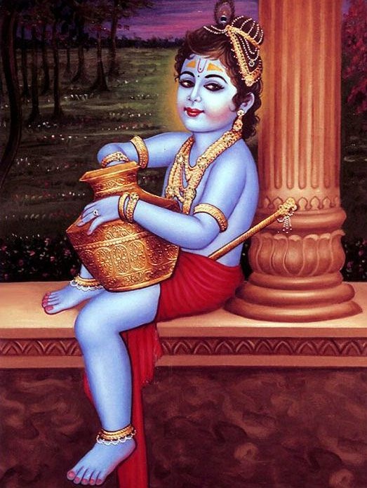 Kanha Wallpaper While Eating Butter in Childhood