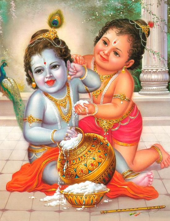 Little Baby Kanha and Brother Balram Happy Playing Wallpaper