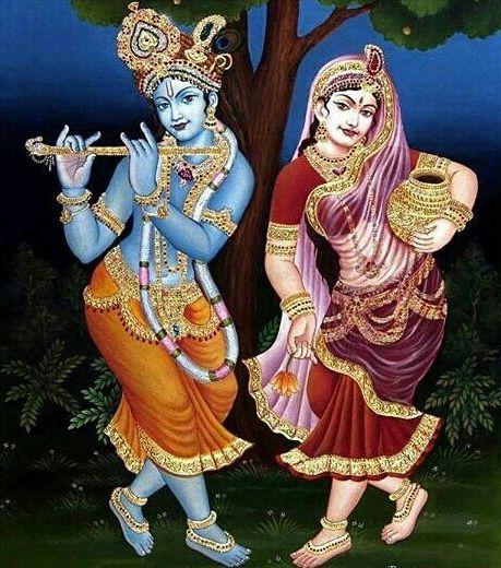 Lord Radha Krishna Cosmic Dance Lover Wallpaper