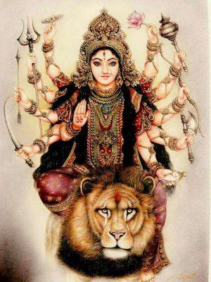Sher Pe Sawar Durga Maiya Ji 10 Hands Wallpaper